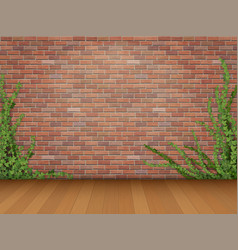 Ivy red brick wall parquet floor vector