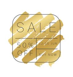 Luxury sale banner design gold paint stroke vector