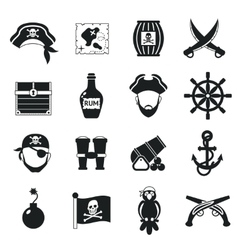 Pirate icons set black vector