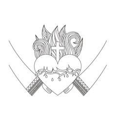 sacred jesus heart icon vector image