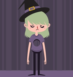 Sad witch with hole in chest vector