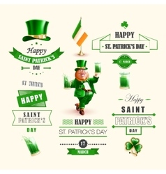 Set lettering Happy St Patricks Day vector image vector image