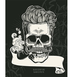 Skull Hipster skull silhouette with tobacco pipe vector image vector image