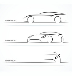 Sports car silhouette set vector image vector image