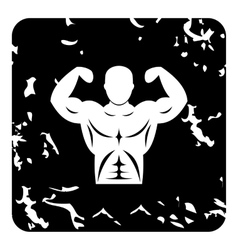 Strong torso icon grunge style vector