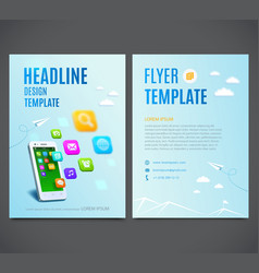 Template design flyer white smartphone with cloud vector image vector image