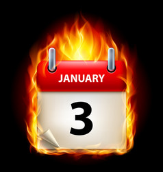 Third january in calendar burning icon on black vector