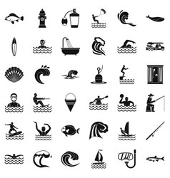 Water wave icons set simple style vector