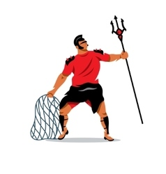 Gladiator with trident and net cartoon vector