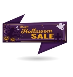 Magic halloween sale banner vector