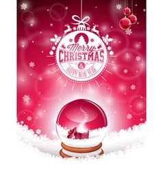 Christmas typographic design and snow globe vector