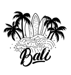 Bali hand lettering surf poster tee print vector