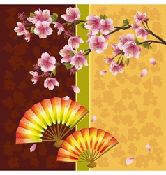 Japanese background with sakura cherry tree and vector image