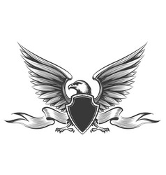 Engraving eagle emblem vector