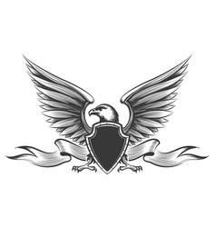 engraving eagle emblem vector image