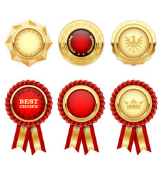 Red award rosettes and gold heraldic medals vector