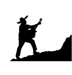 Silhouette of a mexican musician playing serenade vector