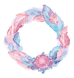 pink and blue feather wreath vector image