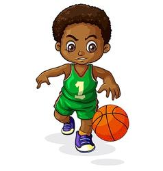 A young Black boy playing basketball vector image