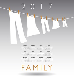 2017 calendar with a family concept vector