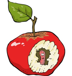worm eaten apple vector image