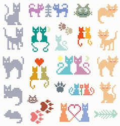 Set retro pixel cat vector