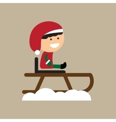 Flat icon on stylish background boy on sled vector