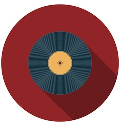 Flat design vinyl record icon with long shadow vector