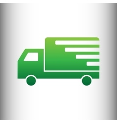 Delivery sign green gradient icon vector
