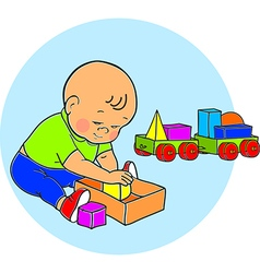 Little lovely baby boy playing with toys kid plays vector
