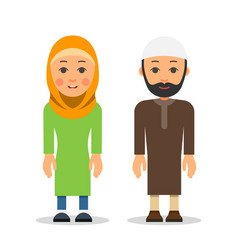 arab or muslim couple woman and man stand vector image vector image