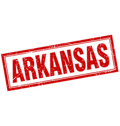 Arkansas red square grunge stamp on white vector