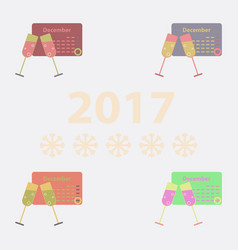 Collection of calendar and champagne vector