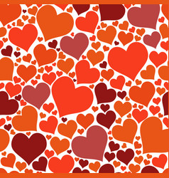 color red hearts chaotic seamless pattern vector image vector image