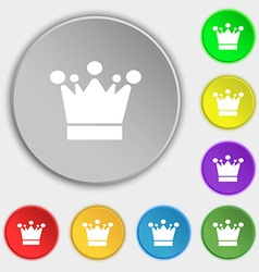 Crown icon sign symbols on eight flat buttons vector