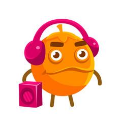 Cute cartoon orange fruit listening to the music vector
