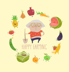 Cute granny farmer with funny vegetables vector