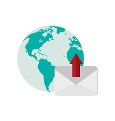 earth globe and envelope icon vector image