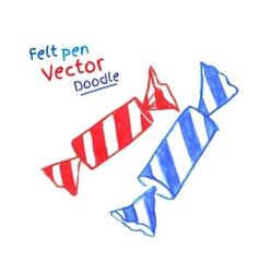 Felt pen drawing of candies vector image