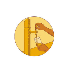 Hand holding glass pouring beer tap circle drawing vector