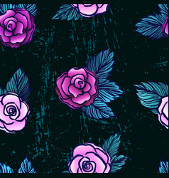 ink hand drawn seamless pattern with pink roses vector image vector image