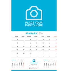 january 2018 wall monthly calendar for 2018 year vector image