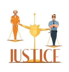 Law justice retro cartoon composition poster vector