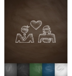 Lovers icon hand drawn vector