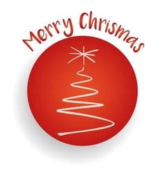 Merry Christmas tree and label in the red circle vector image