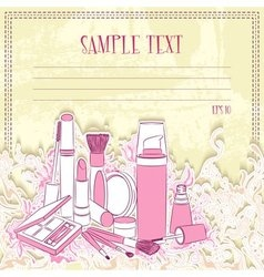 Message card with cosmetics vector