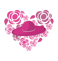Nice flowers in form heart decoration with hat vector
