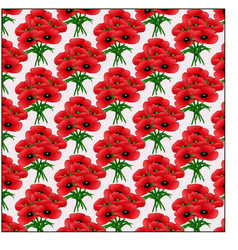 Pattern bouquet of poppies vector