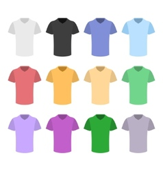 Plain T-shirt Color Template Set in Flat Design vector image