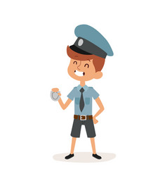 Policeman boy cap and badge hands cop cartoon vector